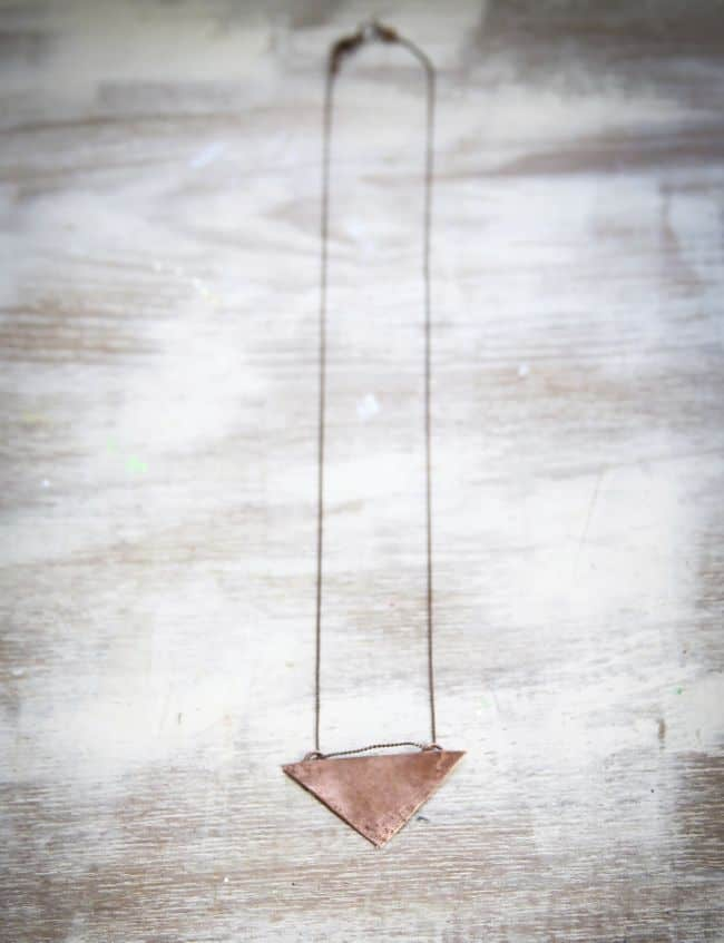Triangle Necklace with Copper