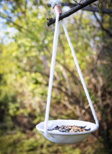 Clay bird feeder