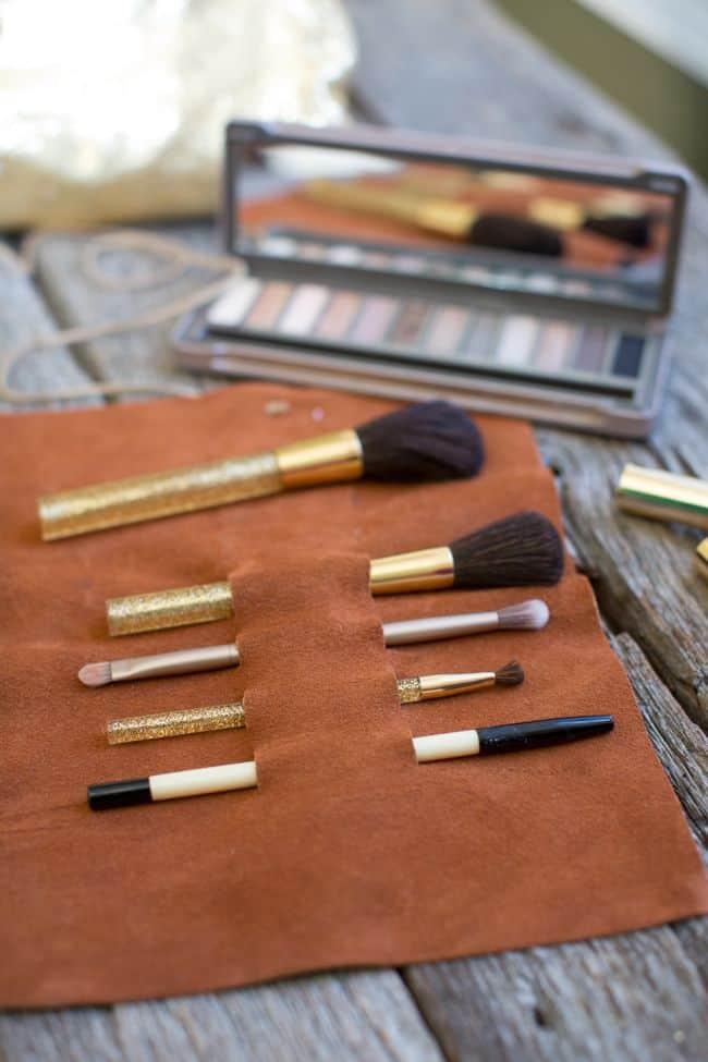 DIY Leather Brush Holder   Hello Glow