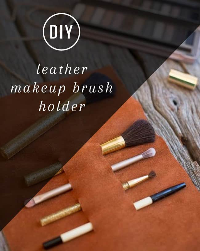 DIY Leather Makeup Brush Holder   Hello Glow