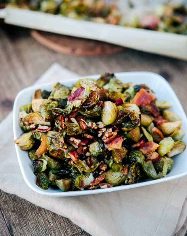 Maple Bacon Roasted Brussels Sprouts   HelloGlow.co