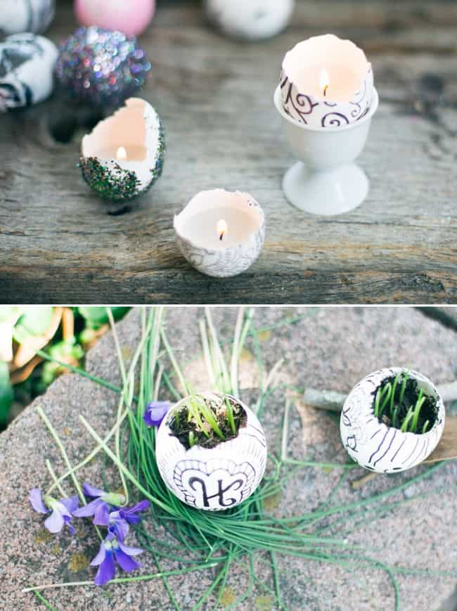 Eggshell garden + candles | HelloGlow.co