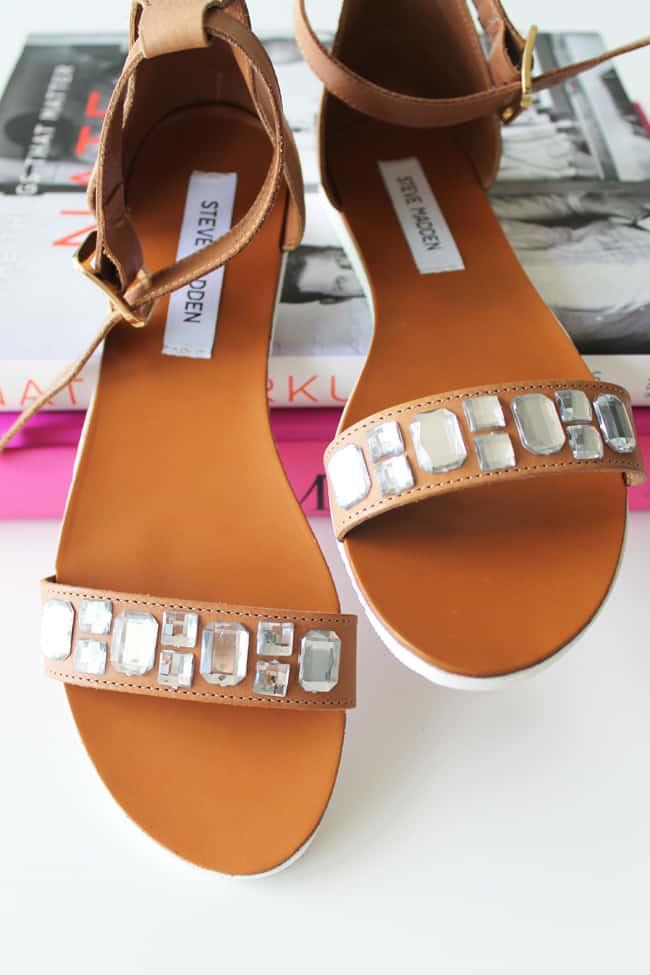 DIY Crystal Embellished Sandals   HelloGlow.co