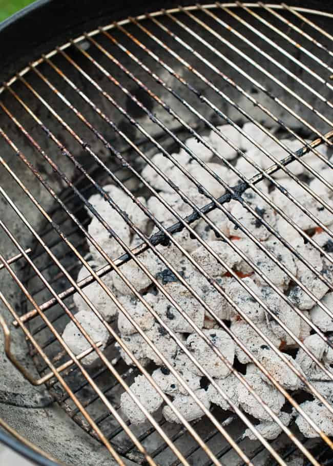cleaning a grill - cooked on food