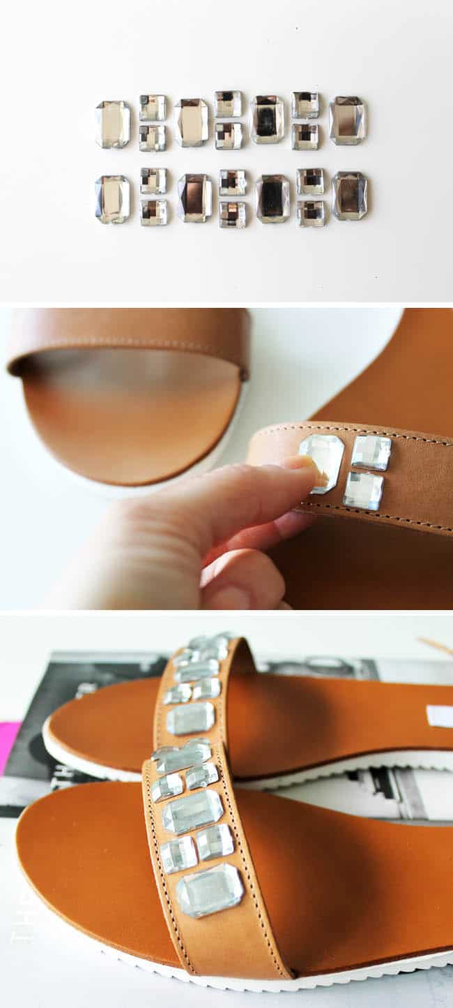 How to embellish sandals with crystals - Hello Glow