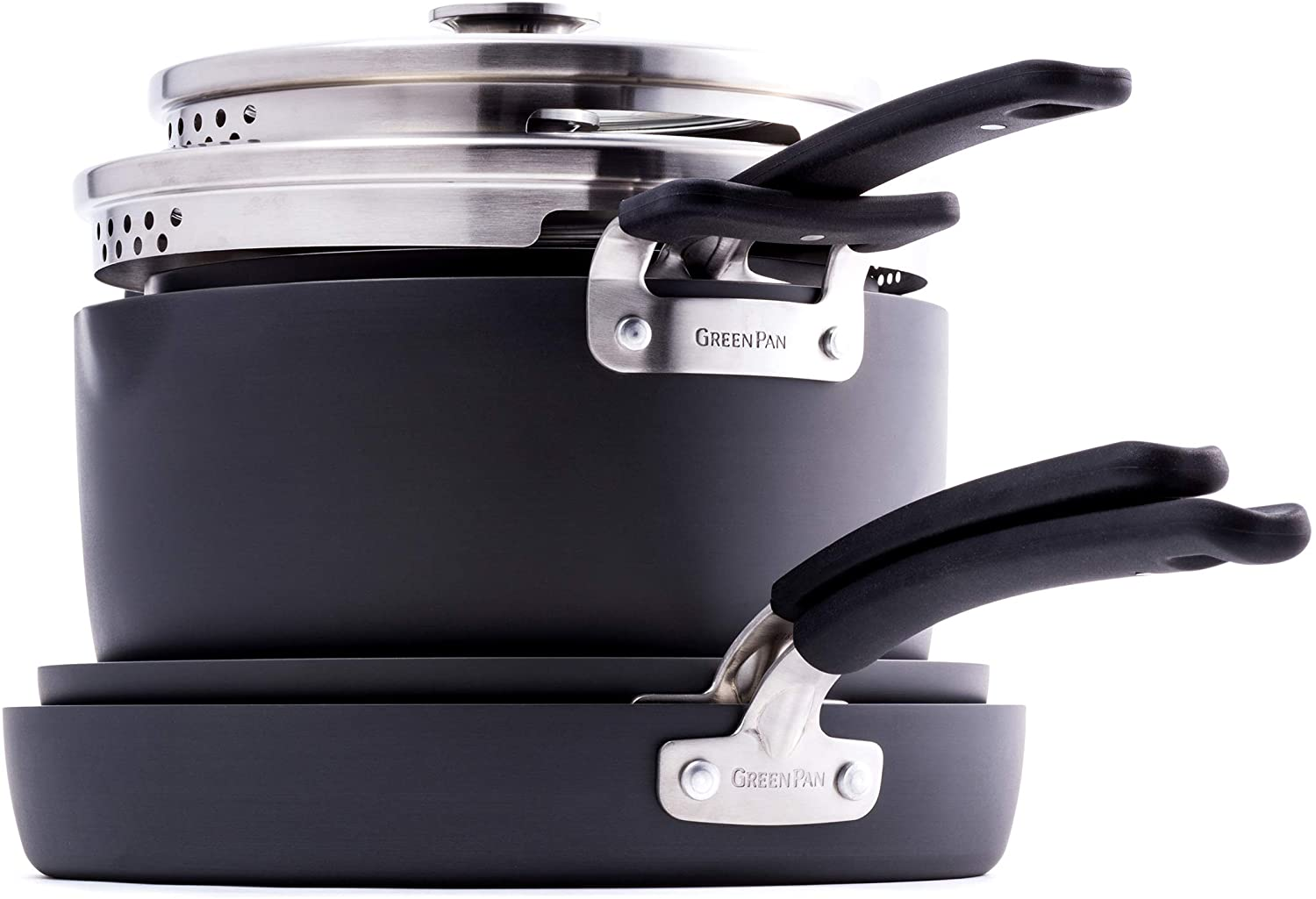 GreenPan Levels Stackable Hard Anodized Ceramic Nonstick, Cookware Pots and Pans Set