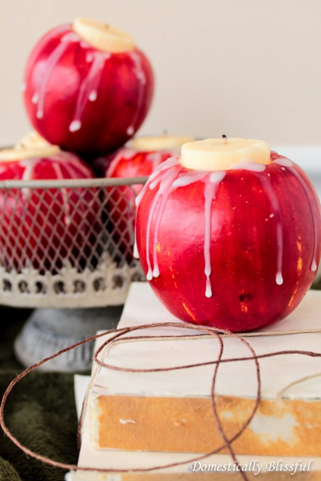 Apple Candles from Domestically Blissful | 10 DIY Fall Candles