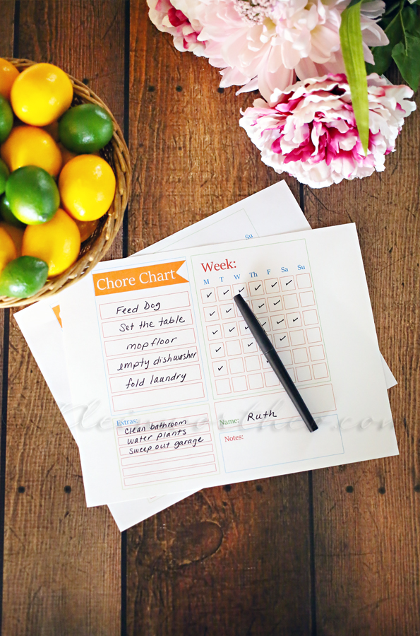 Chore Chart Checklist Template from Kleinworth & Co. | 15 Free Organization Printables