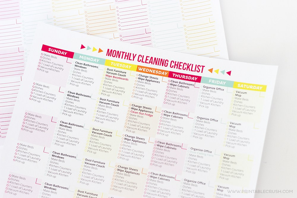 Monthly Cleaning Checklist from Printable Crush | 15 Free Organization Printables