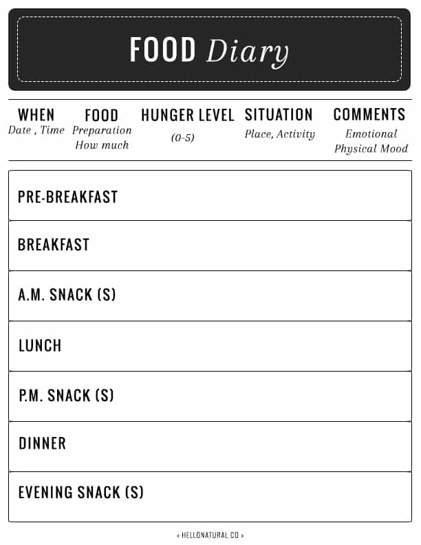 Food Diary from Hello Glow | 15 Free Organization Printables