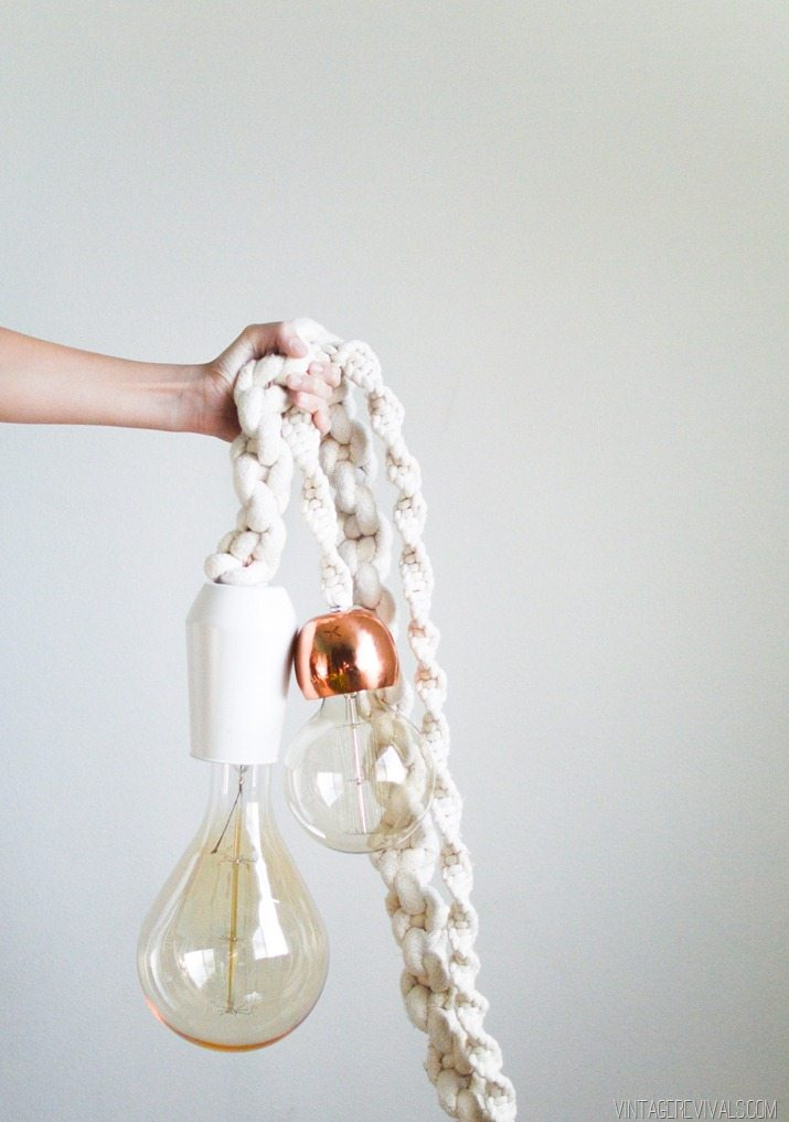 Giant Macramé Rope Lights from Vintage Revivals | 8 Modern DIY Macrame Projects