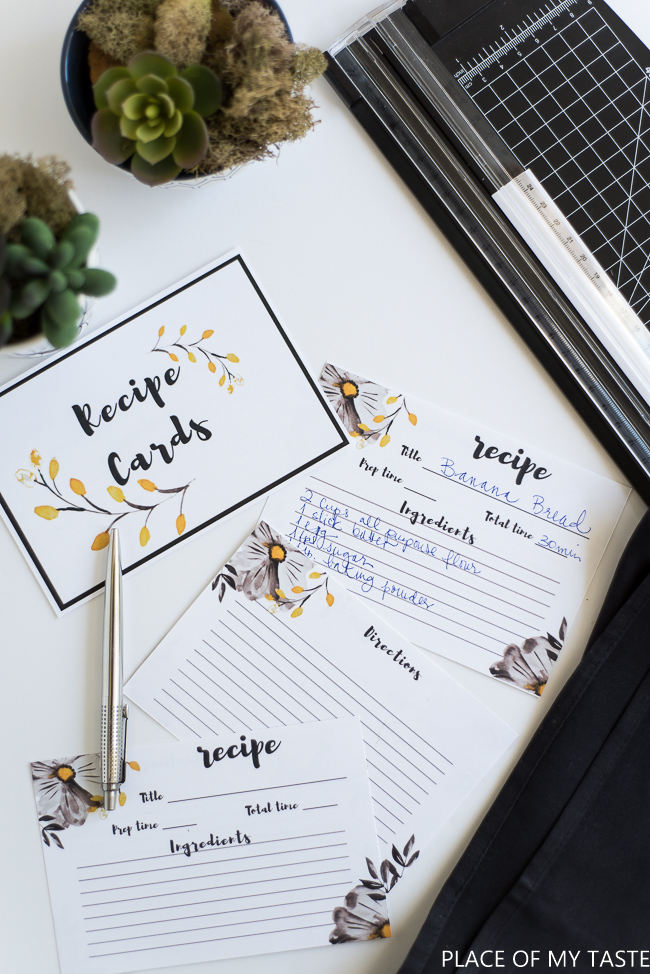 Printable Recipe Cards from Place of My Taste | 15 Free Organizatioin Printables