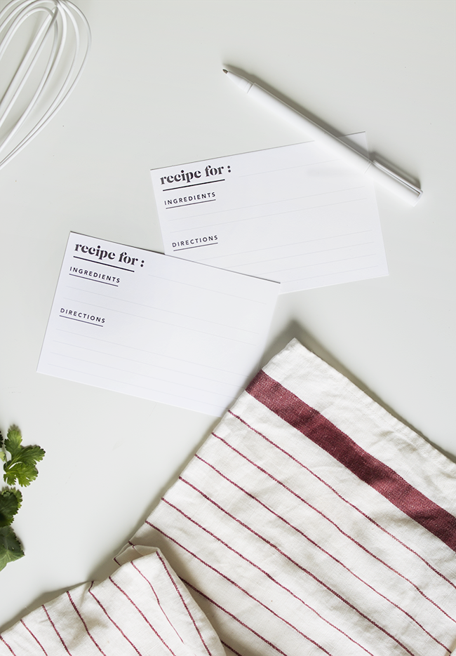 Printable Minimal Recipe Cards from Almost Makes Perfect | 15 Free Organization Printables
