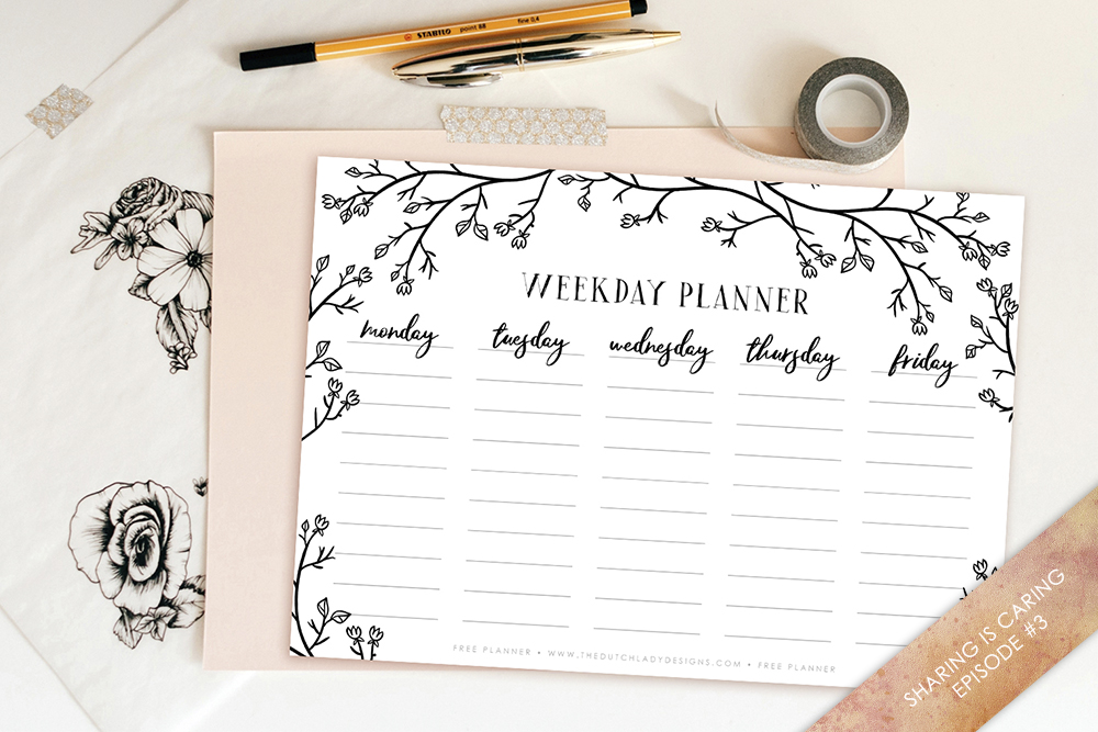 Free Printable Weekday Planner from The Dutch Lady Designs | 15 Free Organization Printables
