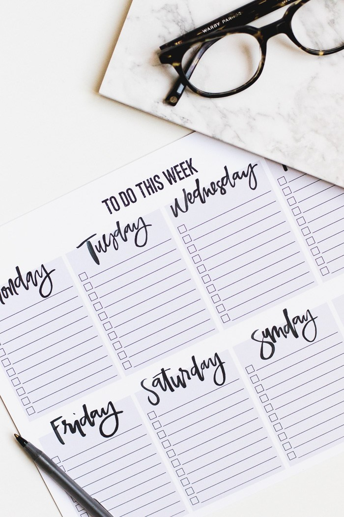 Weekly To-Do List Printable from Montgomery Fest | 15 Free Organization Printables