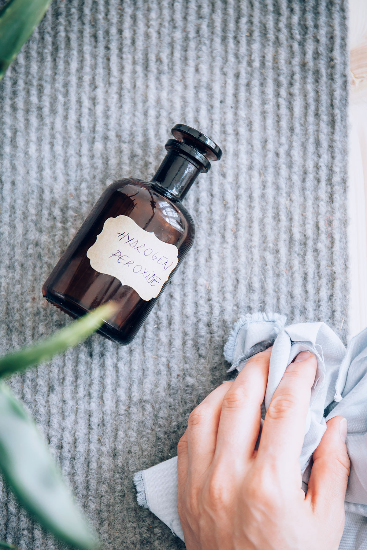 Remove carpet stains with hydrogen peroxide