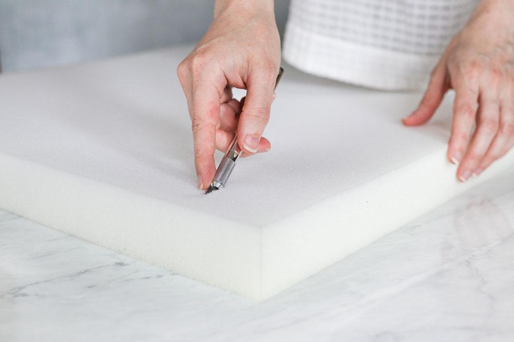 Cutting Melamine Foam for Magic Eraser