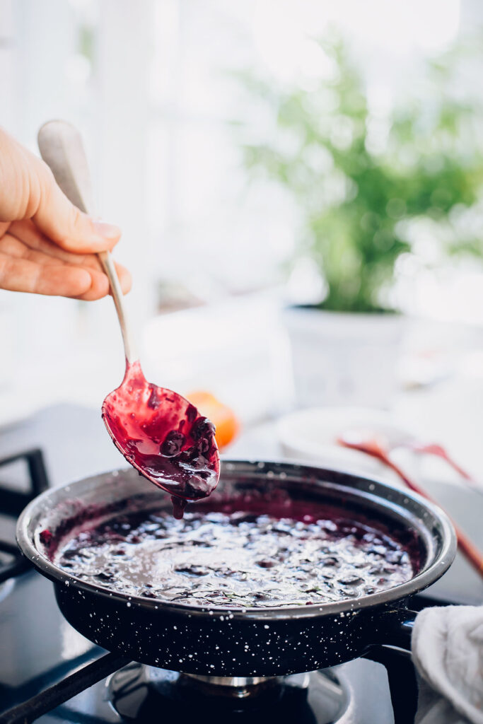Cooking chia berry jam