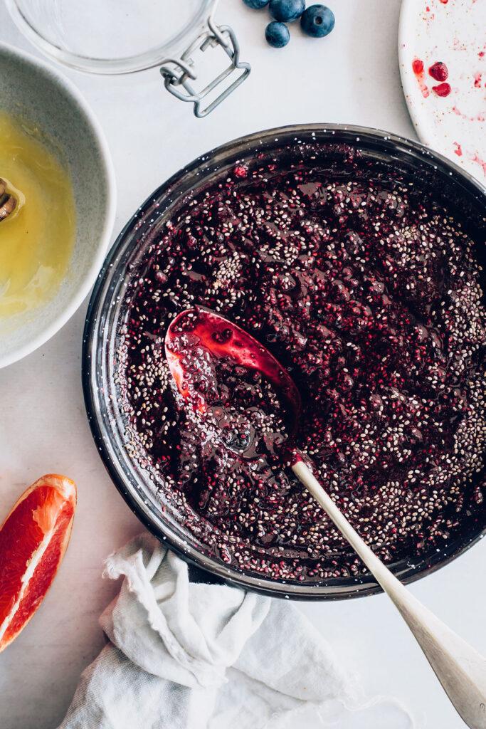 Thickening chia berry jam