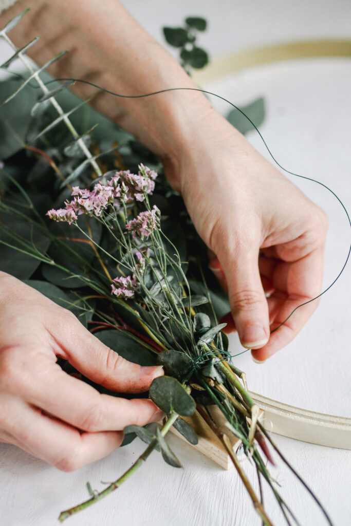 Securing eucalyptus with floral wire