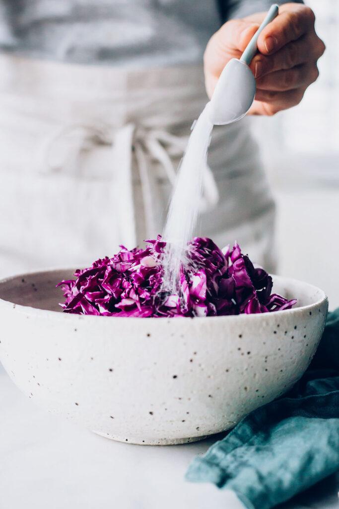Adding salt to Red Cabbage Sauerkraut