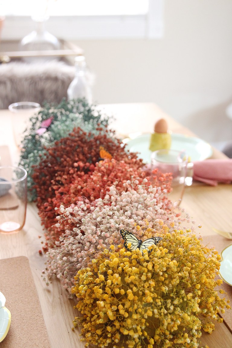 DIY Rainbow Baby's Breath Easter Centerpiece from Bliss Makes