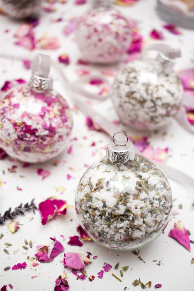 DIY Bath Salt Ornaments With Dried Rose Petals And Lavender from Why Don't You Make Me?