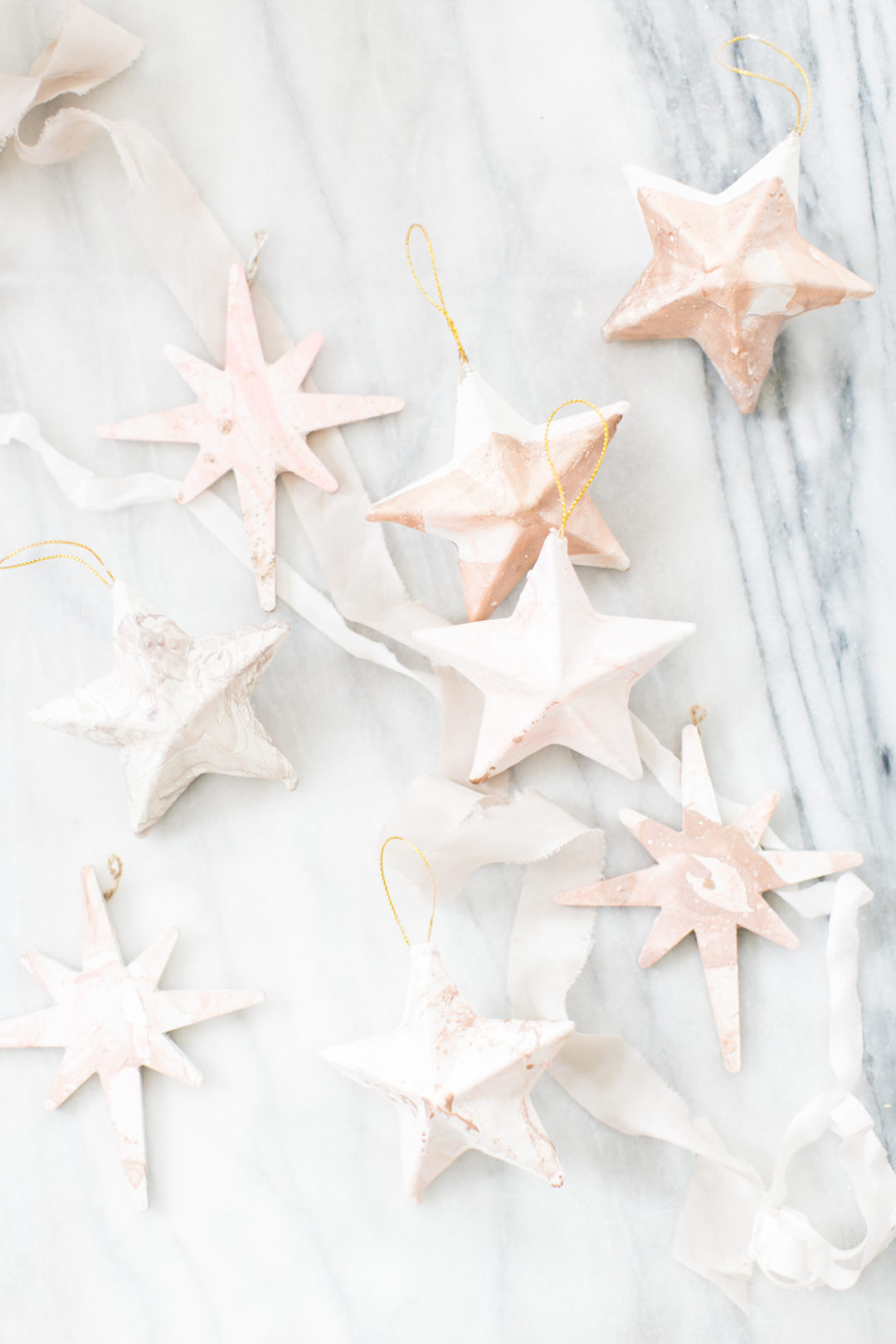 Marbled Star Christmas Ornaments from Lark & Linen