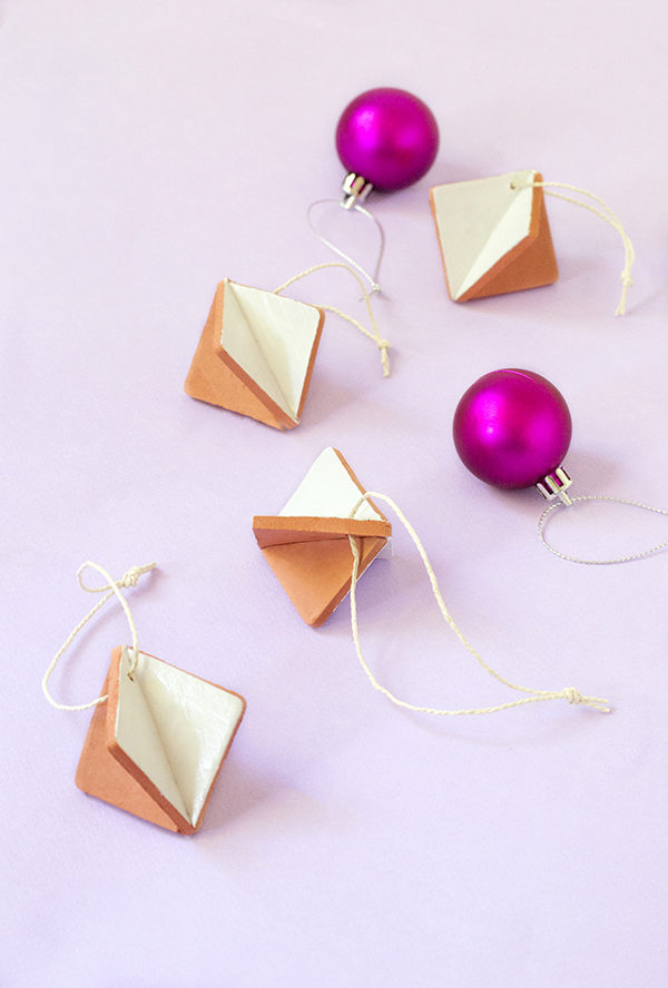 Diamond terracotta clay Christmas ornaments from Make and Tell
