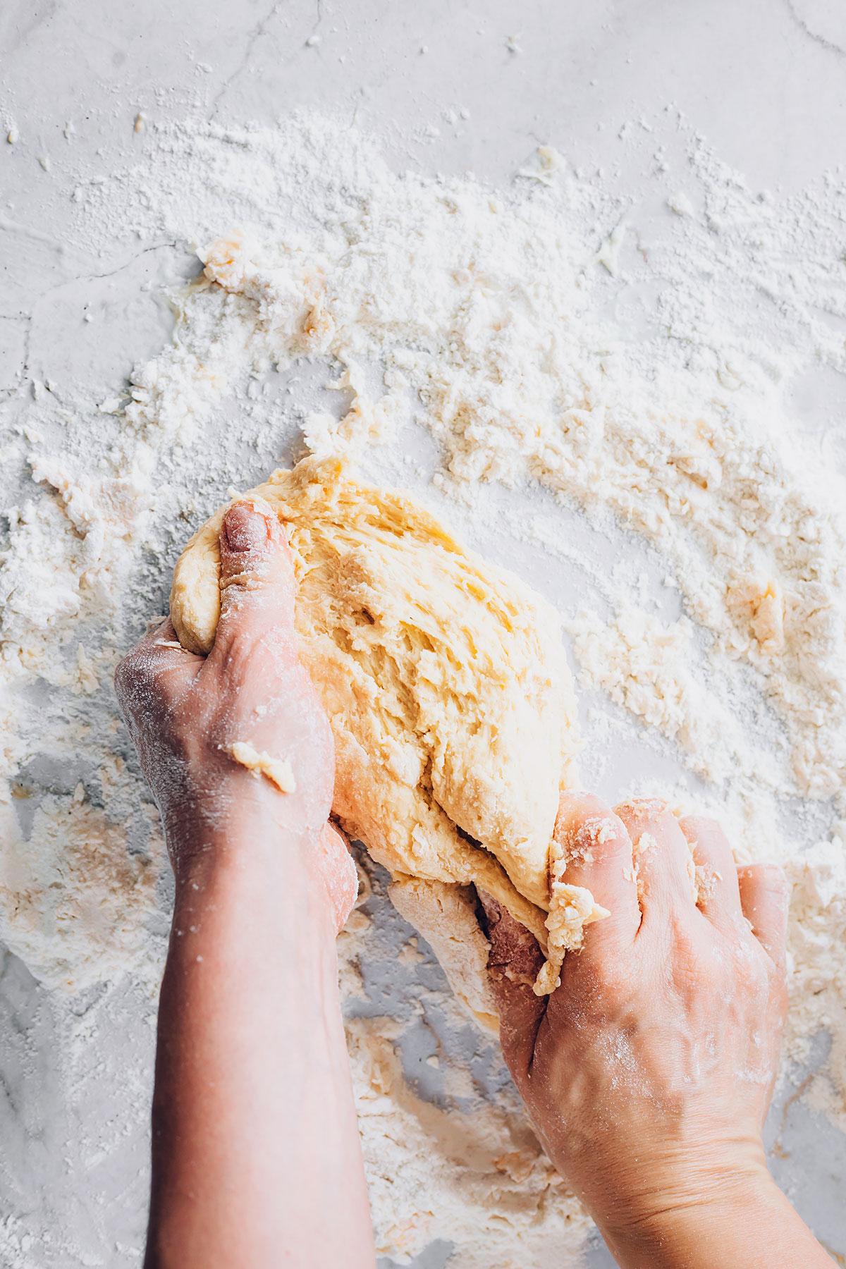 Kneading dough for homemade pasta