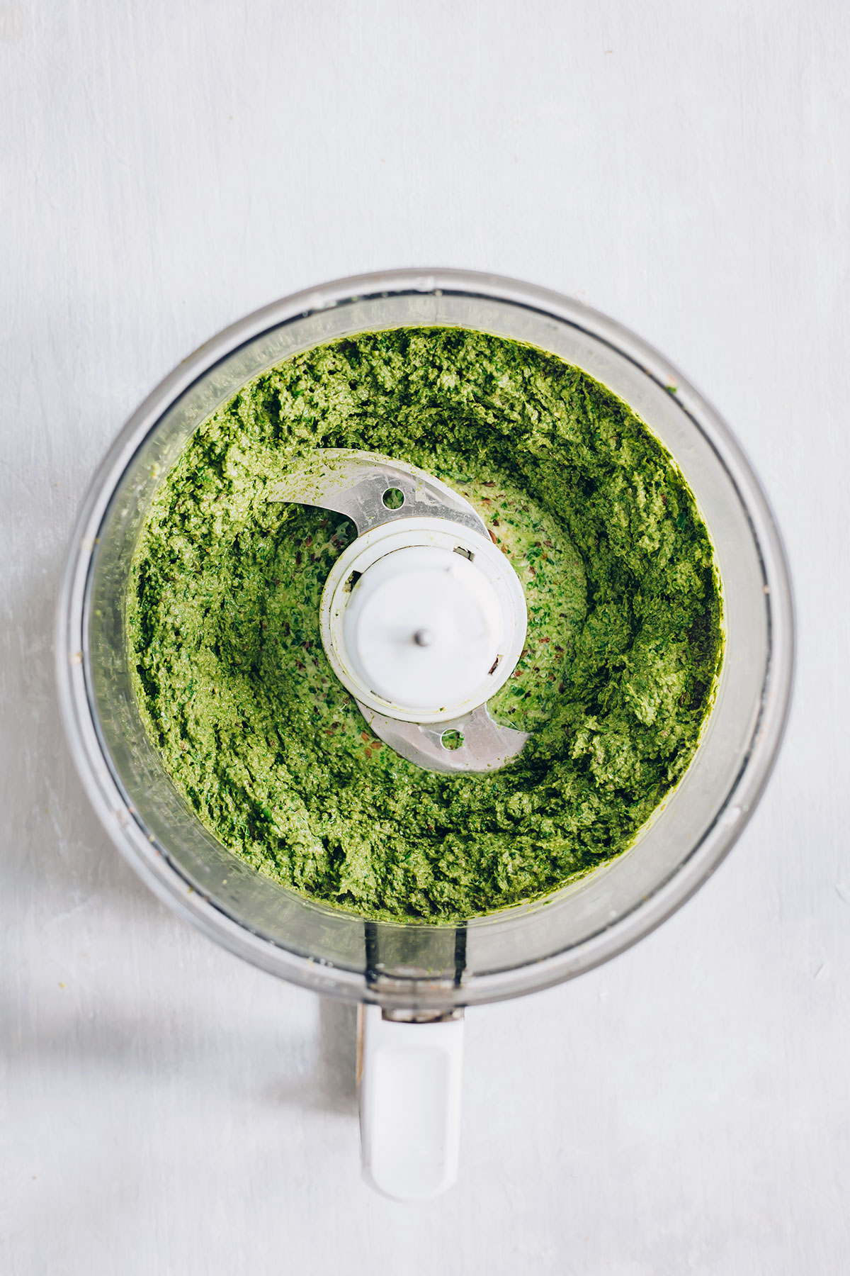 Blending Freezer Pesto Ingredients Together