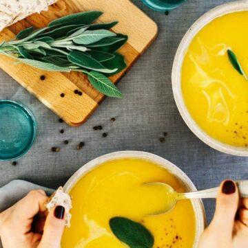 A Creamy, Vegan Butternut-Pumpkin-Sage Soup